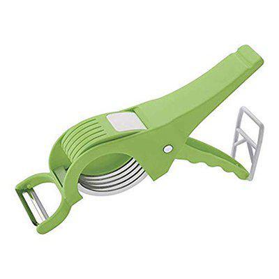 RUDRA Enterprise 2-in-1 Vegetable Cutter Peeler Green (Color May Vary) Multi 5 Laser Blade Vegetable and Fruits Cutter/Chopper Multi-Colour (Vegetable 2 in 1 Cutter)