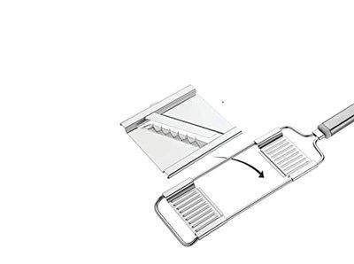 Rudra 6 in 1 Stainless Steel Grater and Slicer Vegetable Cutter French Fries Cutter Potato Potato Chips Cutter (Silver)