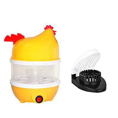 DeoDap Chicken Shaped Double Layer 14 Egg Boiler Cooker Steamer Poacher & Multi Purpose Egg Cutter/Slicer (Multicolor)
