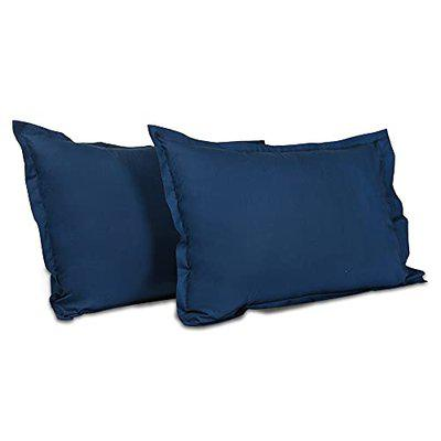 Wakefit 100% Cotton 200 TC Pillow Cover, Standard - 18 x 27 inches, Navy Blue, Set of 2