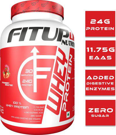 FITUP LIFE Nutrition 100% whey protein, (USA Made) Whey Protein(1 kg, Strawberry)