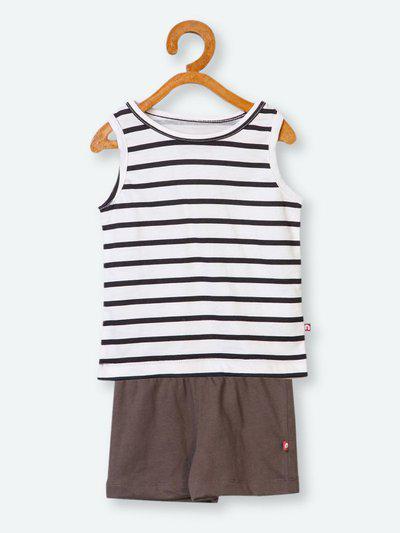 Nino Bambino Boys White & Brown Striped T-shirt with Shorts