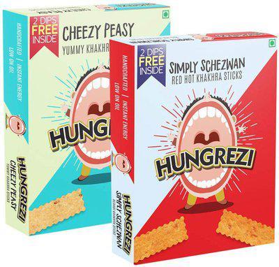 Hungrezi Combo of Cheezy Peasy & Simply Schezwan Khakhra Sticks(2 x 90 g)