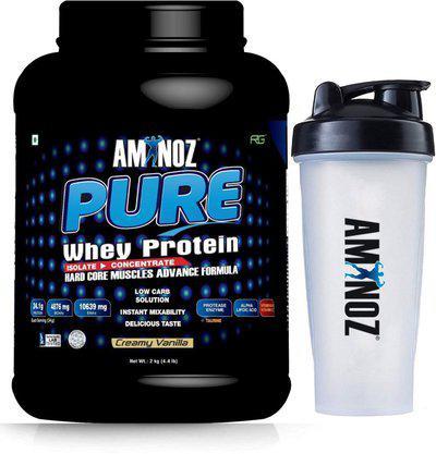 Aminoz Pure (Vanilla, 2kg / 4.4lb) with Gym Shaker 700ml - 100% Whey Protein(2 kg, Vanilla)
