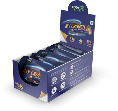 BodyFirst 11g Protein, Zero Sugar, Pack of 6 Protein Bars(240 g, Vanilla Choco)