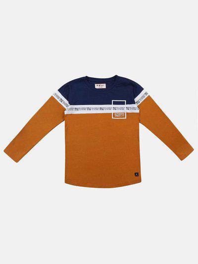Li'l Tomatoes Boys Color Block Pure Cotton T Shirt(Dark Blue, Pack of 1)