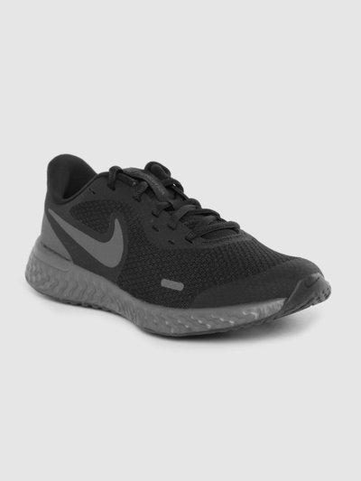 Nike Kids Black Solid Revolution 5 Running Shoe