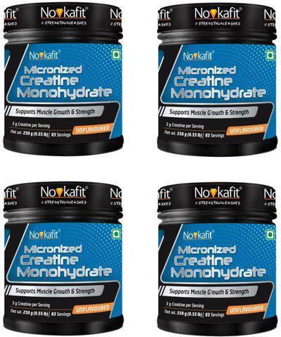 NOVKAFIT Micronized Creatine Monohydrate Powder  250 g (Unflavoured) (Pack of 4) Creatine(250 g, Unflavored)
