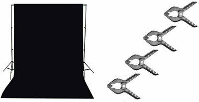 SHOPEE 8 x12 FT Black Backdrop Photo Light Studio Photography Background with 4pcs Backdrop Support Spring Clamp 4.3