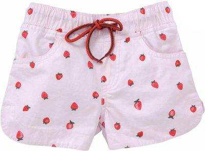 KiddoPanti Short For Girls Casual Printed Cotton Blend(Pink, Pack of 1)