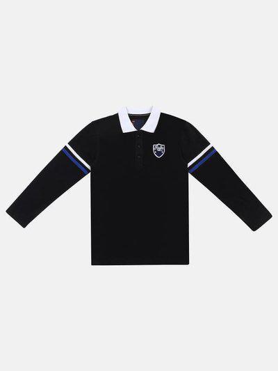 Li'l Tomatoes Boys Self Design Pure Cotton T Shirt(Black, Pack of 1)