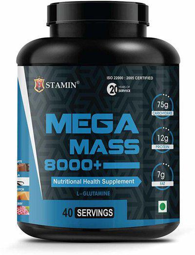 STAMIN Mega Mass 8000 Weight Gainer, Chocolate flavour 2 kg Weight Gainers Mass Gainers(2 kg, Chocolate)