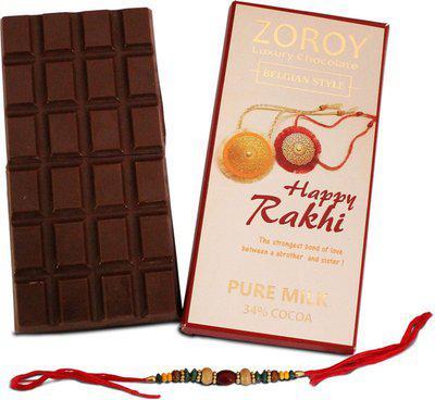 ZOROY Luxury Chocolate Rakhi Gift The pure belgian Milk chocolate bar with Rakhi - 100gms Combo(100)