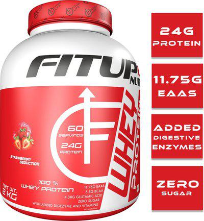 FITUP LIFE Nutrition 100% whey protein, (USA Made) Whey Protein(2 kg, Strawberry)