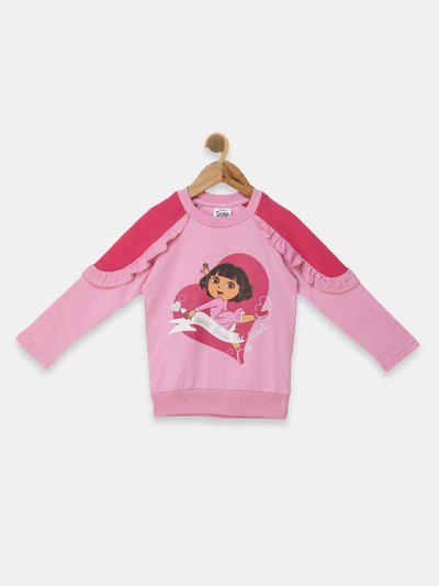 Dora Full Sleeve Printed Girls Sweatshirt