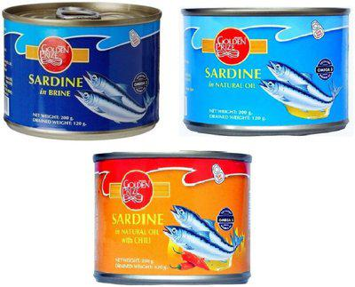 Golden Prize Sardine in Brine, Natural Oil and Natural Oil with Chili (3 x 200gms Each) Slices(600 g Pack of 3)