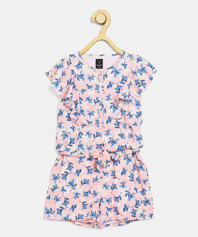 Allen Solly Romper For Girls Casual Floral Print Polyester(Multicolor, Pack of 1)
