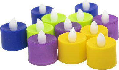 FULLY Plastic Tea Light Candles LED Candles for Home Decor and Diwali Use Light Candles Set of 12 Pcs Multicolor Pack of 1 Candle(Multicolor, Pack of 12)