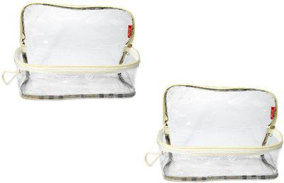 iShine Multipurpose Travel Morning Cosmetic Make up Pouch Transparent Checks Large Side Clear (2) Travel Toiletry Kit(Multicolor)