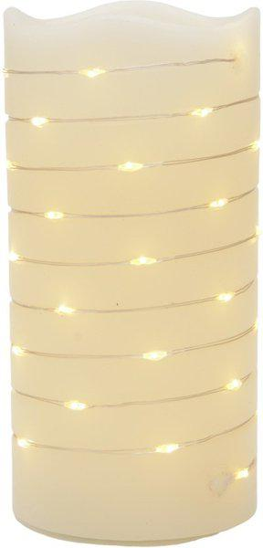 Store2508 Real Wax Body Battery Operated LED Pillar Candle with Wrapped Around String Light Warm White, D M-CM-^X 7.5cm x H 15cm. Candle(Multicolor, Pack of 1)