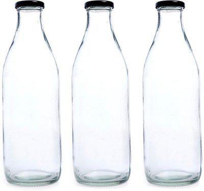 Good Life Airtight Cap Glass Water Bottle for Milk,Juice,Fridge,Home,Office,1 ltrx3 bottle, 1000 ml Bottle(Pack of 3, Clear)