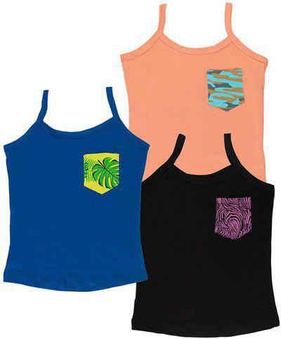 You Got Plan B Vest For Girls Cotton Blend(Multicolor, Pack of 3)