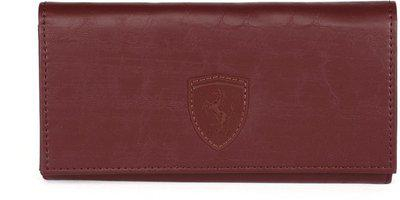 Puma Women Casual Maroon Artificial Leather Wallet(8 Card Slots)