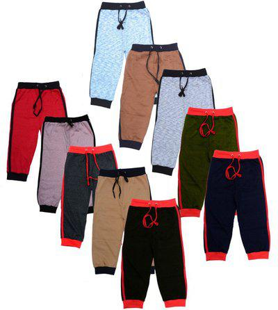 Eazy TrendzTM Logo Embroidered Sports, Casual or Rough Use Cotton Pants Track Pants Trousers Combo for Kids (Pack of 10)