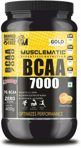 Musclematic BCAA 7000 BCAA(400 g, Green Mango)