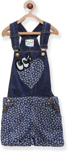 Eimoie Dungaree For Girls Casual Printed Denim(Dark Blue, Pack of 1)