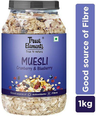 True Elements Cranberry & Blueberry Muesli, Wholegrain Cereal, Rich in Antioxidants(1000 g, Plastic Bottle)