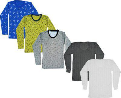 IndiWeaves Girls Printed Fleece T Shirt(Multicolor, Pack of 5)