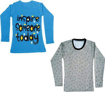 IndiWeaves Girls Printed Fleece T Shirt(Multicolor, Pack of 2)