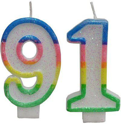 Utkarsh Two Digit ( Number 91 ) Rainbow Border Glitter Candle for Birthday, Anniversary Cake Candle(Multicolor, Pack of 2)