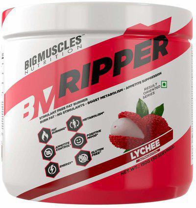 BIG MUSCLES RIPPER-30 Servings, 100% Gluten Free,Metabolism Booster, Stimulant Free Fat Burner Creatine(150 g, Lychee)