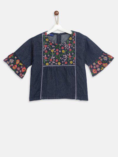 Yk Girls Cotton Blend A-line Top(Blue, Pack of 1)