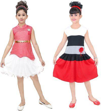 Gkidz Girls Below Knee Party Dress(Red, Sleeveless)