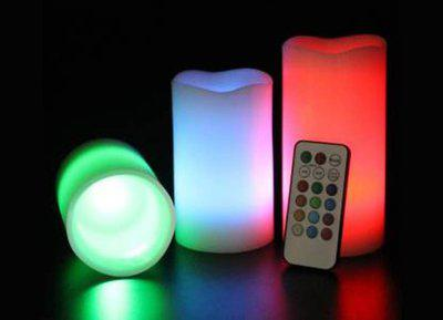 Jamboree Set of 3 Flickering Flameless LED Pillar Candles with Remote Candle(Multicolor, Pack of 4)