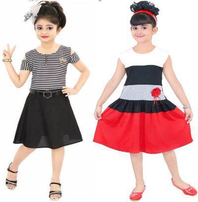 Gkidz Girls Midi/Knee Length Casual Dress(Multicolor, Sleeveless)