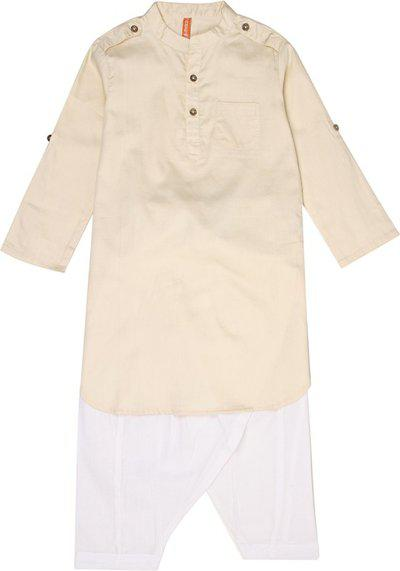 Ethnicity Boys Festive & Party Pathani Suit Set(Beige Pack of 1)