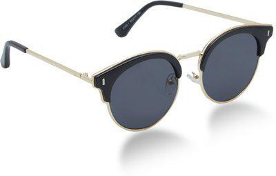 Vast Cat-eye, Retro Square, Butterfly Sunglasses(Grey, Golden)