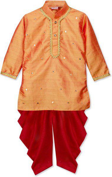 KID1 Boys Festive & Party Dhoti & Kurta Set(Orange Pack of 1)