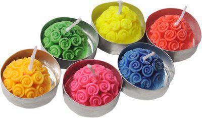K kudos Enterprise Halfballroseshapecandle06 Candle(Multicolor, Pack of 6)