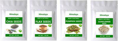 Himalaya NATURAL CHIA SEEDS , FLAX SEEDS , PUMPKIN SEEDS & SUNFLOWER SEEDS ( 100 GM EACH ) 400 GM(400 g, Pack of 4)