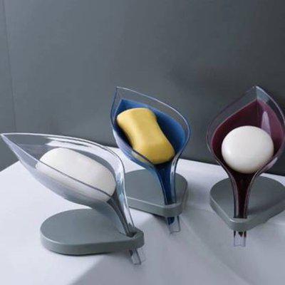 Prestige Bathroom Leaf Shape Soap Dish Holder Pack Of 3(Blue, Wine, White)