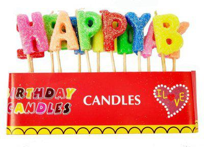 Jamboree happy birthday letter candles Toothpick Colorful wax candle for cake decoration Festival Party supplies Baking Gift Candle(Multicolor, Pack of 1)