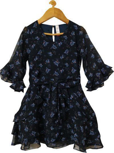 KiddoPanti Girls Maxi/Full Length Casual Dress(Blue, 3/4 Sleeve)