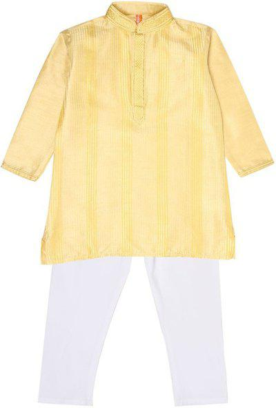 Ethnicity Boys Festive & Party Kurta and Pyjama Set(Yellow Pack of 1)