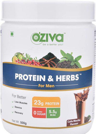 OZiva Protein & Herbs Shake for Men (17 Servings) Whey Protein(500 g, Cafe Mocha)