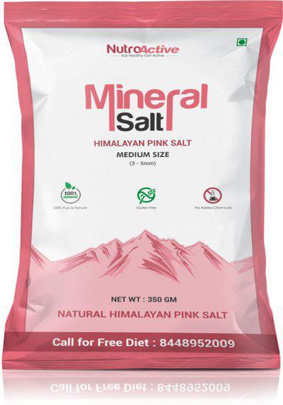 NutroActive Mineral Salt (Himalayan Pink Salt) Rock Salt Medium Size Grain (0.5-1 mm) 350 gm Himalayan Pink Salt(350 g)